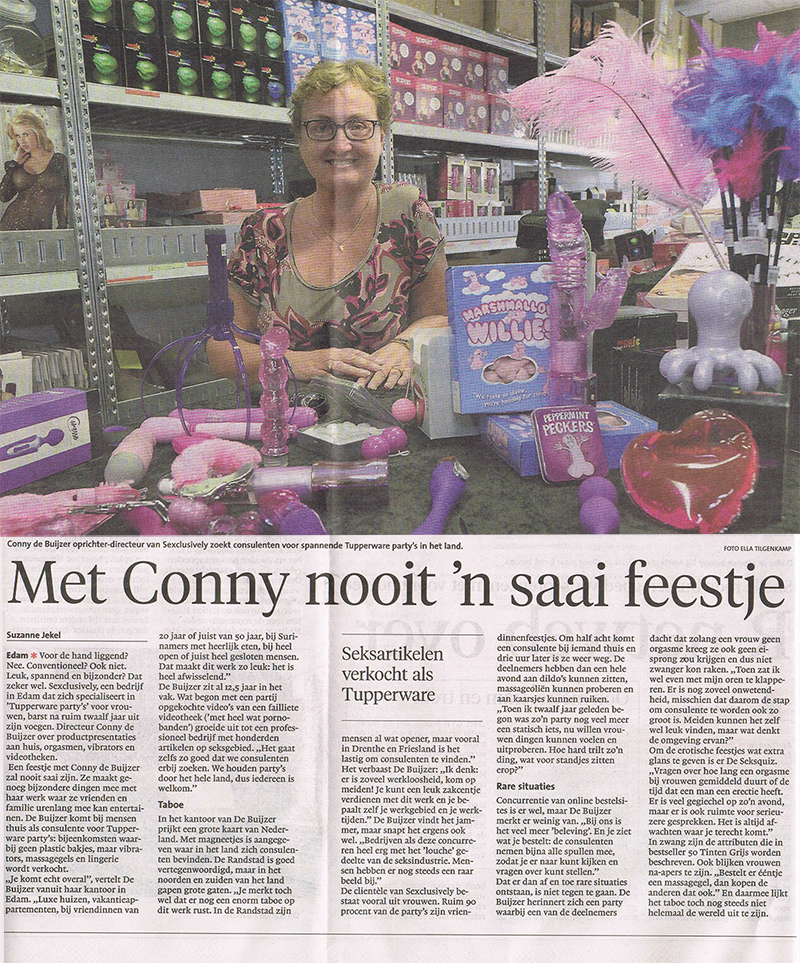 Krantenartikel over Conny van Sexclusively